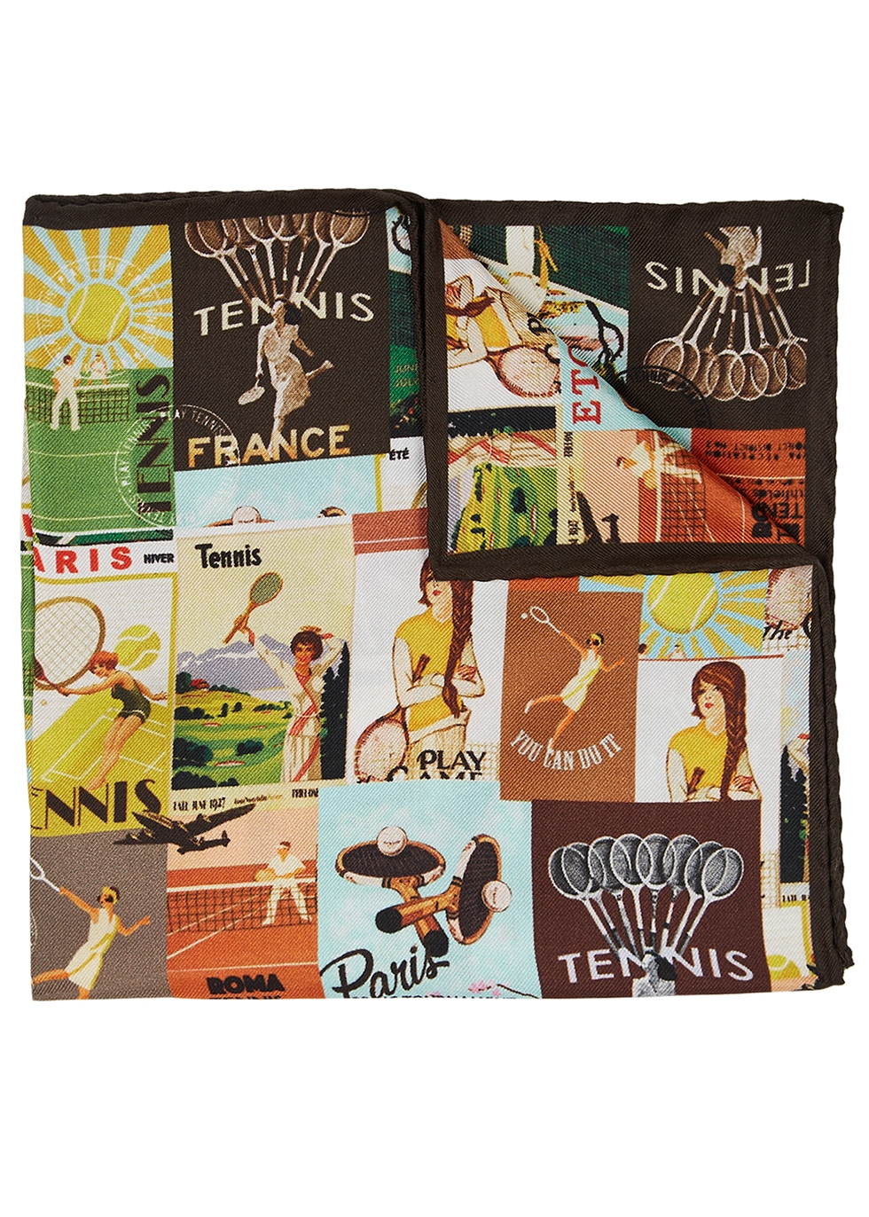 Printed silk twill pocket square - Eton