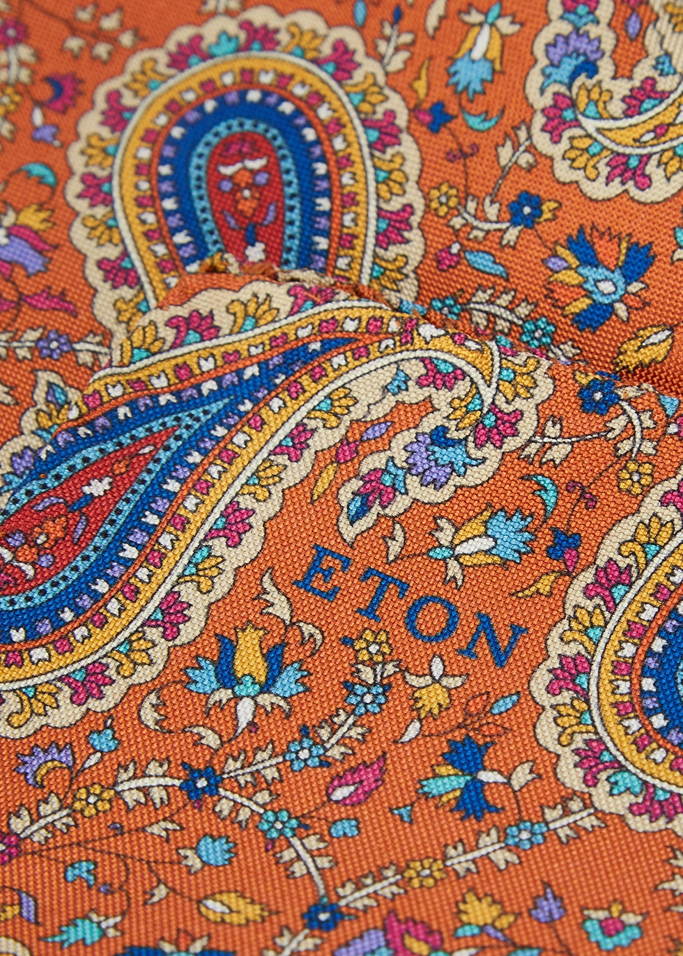 Paisley-print silk pocket square - Eton