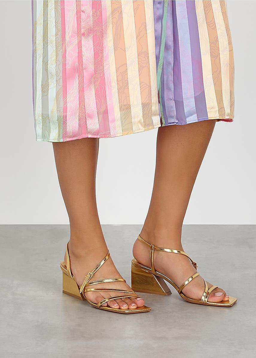 24c0b090db43 Kelise 65 gold leather sandals Kelise 65 gold leather sandals