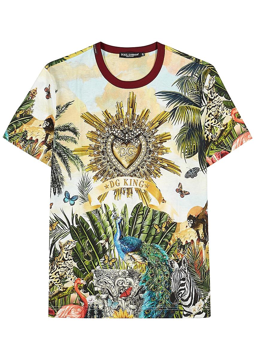 dd613676 Tropical-print cotton T-shirt ...