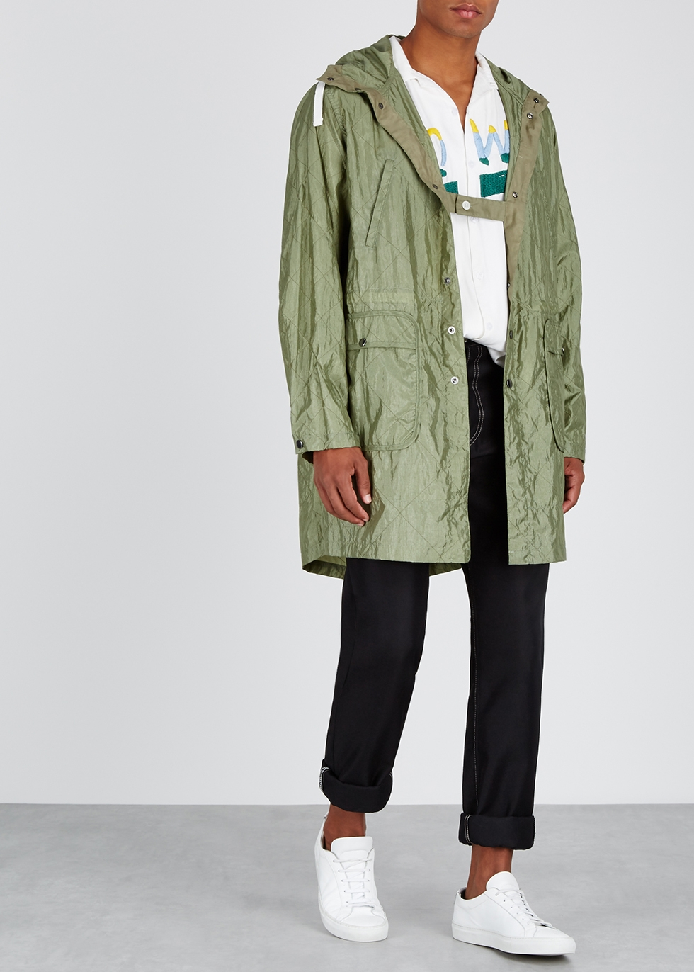 Olive hooded shell jacket - Noma T.D