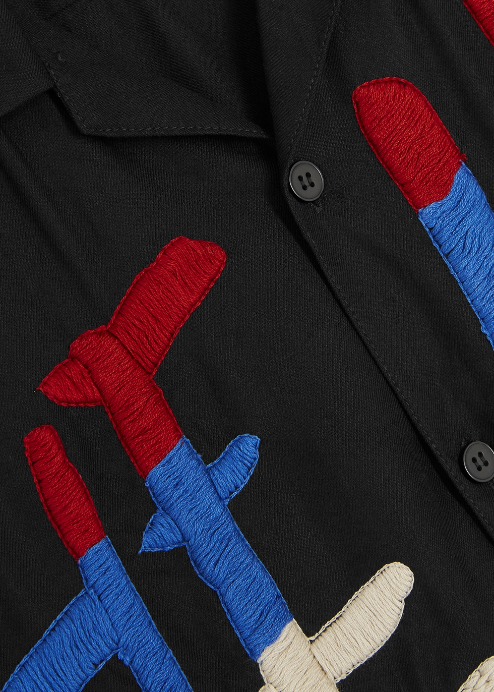 Black embroidered twill shirt - Noma T.D