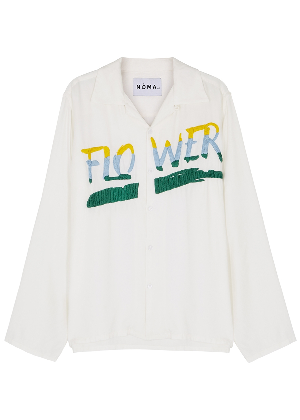 White embroidered twill shirt - Noma T.D