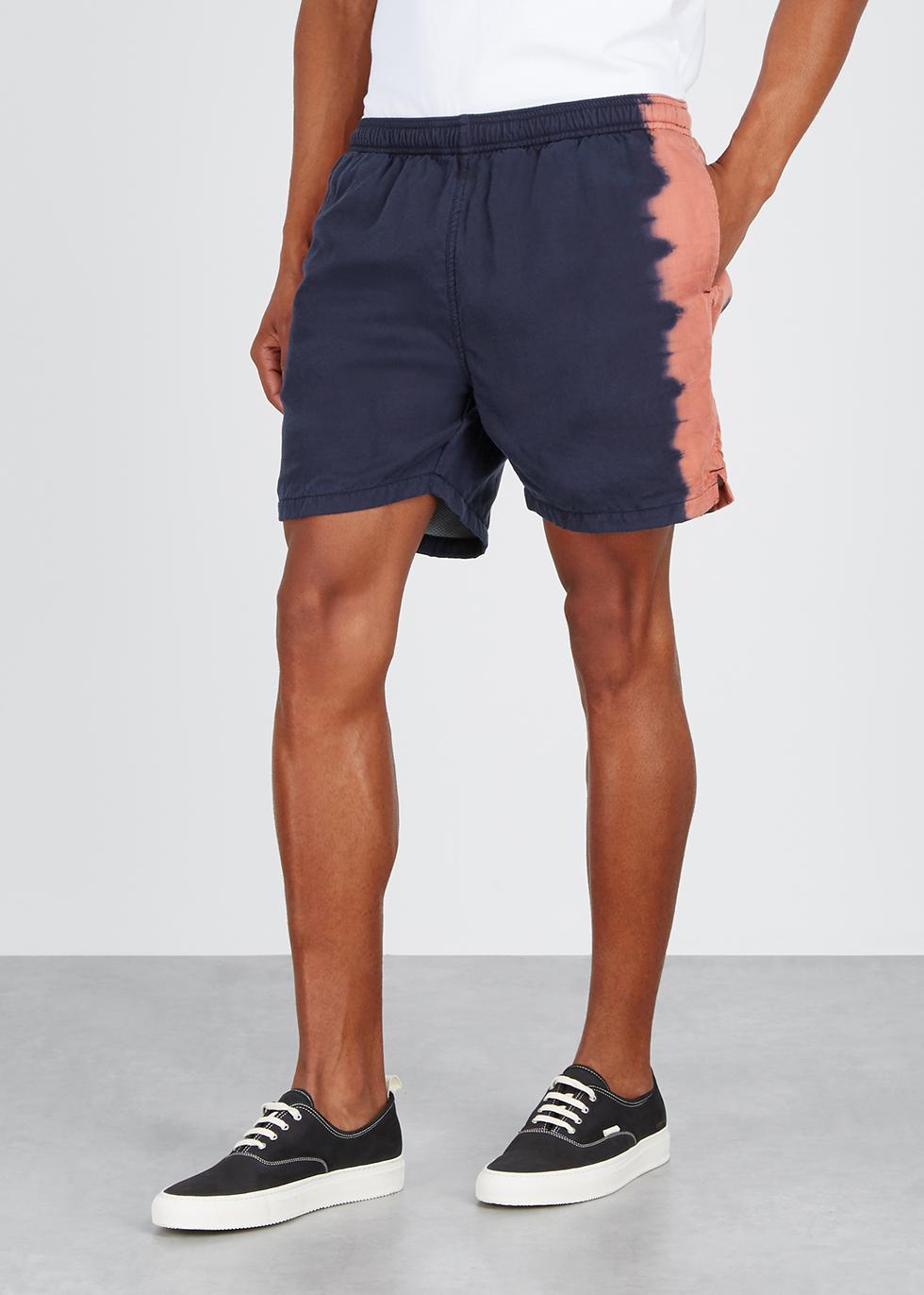 Navy tie-dye twill shorts - Noma T.D