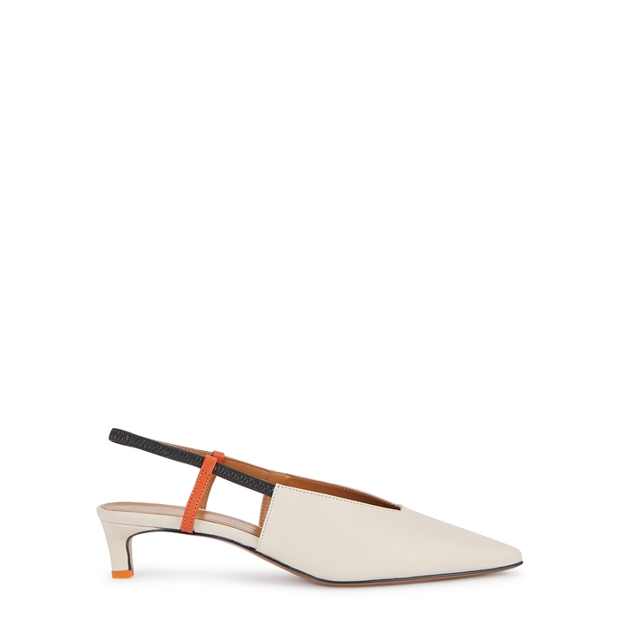 Atp Atelier Turi 40 Slingback Leather Pumps In Off White