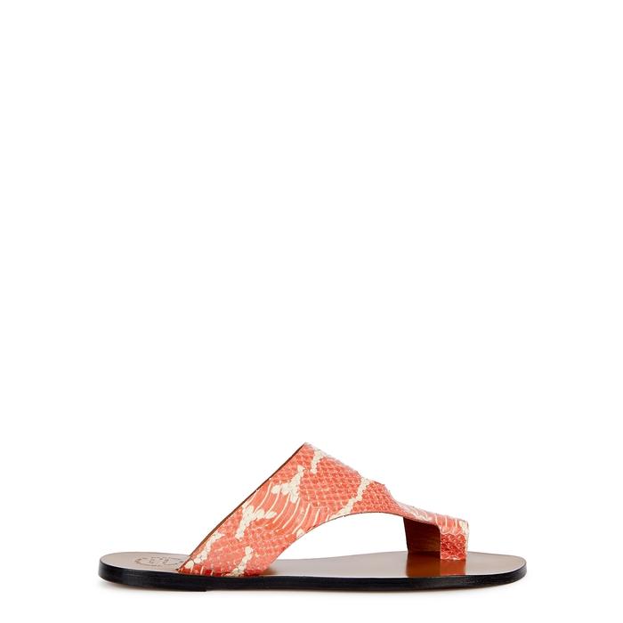 Atp Atelier Roma Python-Effect Leather Sandals In Orange