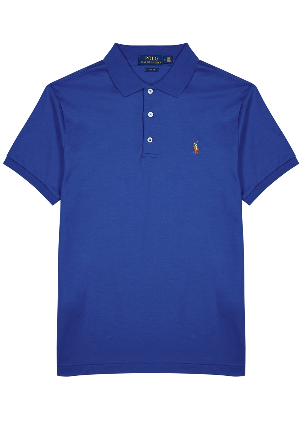 b1f7ee551f Polo Ralph Lauren Blue slim Pima cotton polo shirt - Harvey Nichols
