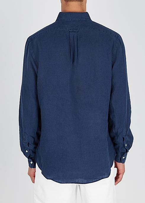 ffacf9f5 Polo Ralph Lauren Navy custom linen shirt - Harvey Nichols