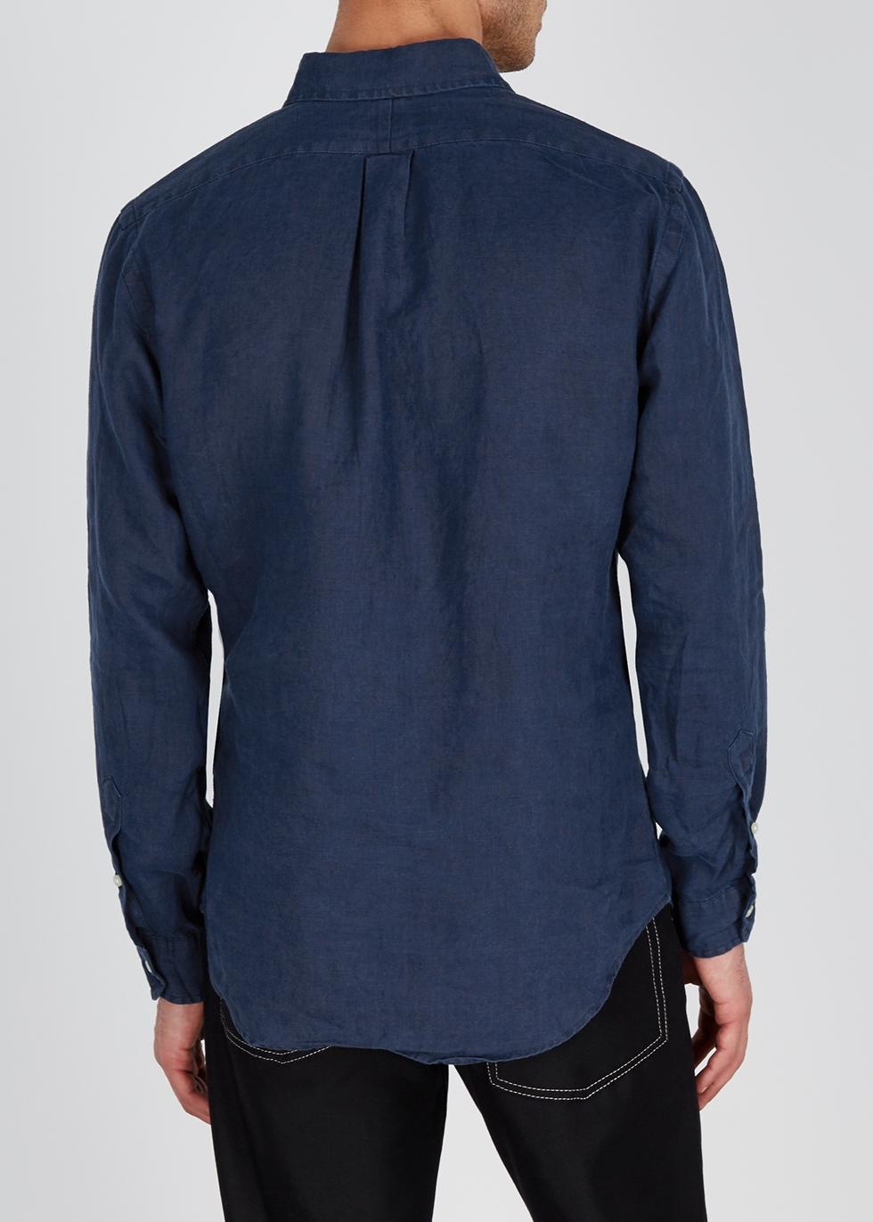 Ralph Harvey Nichols Polo Navy Lauren Linen Shirt Slim nmNwyvO80