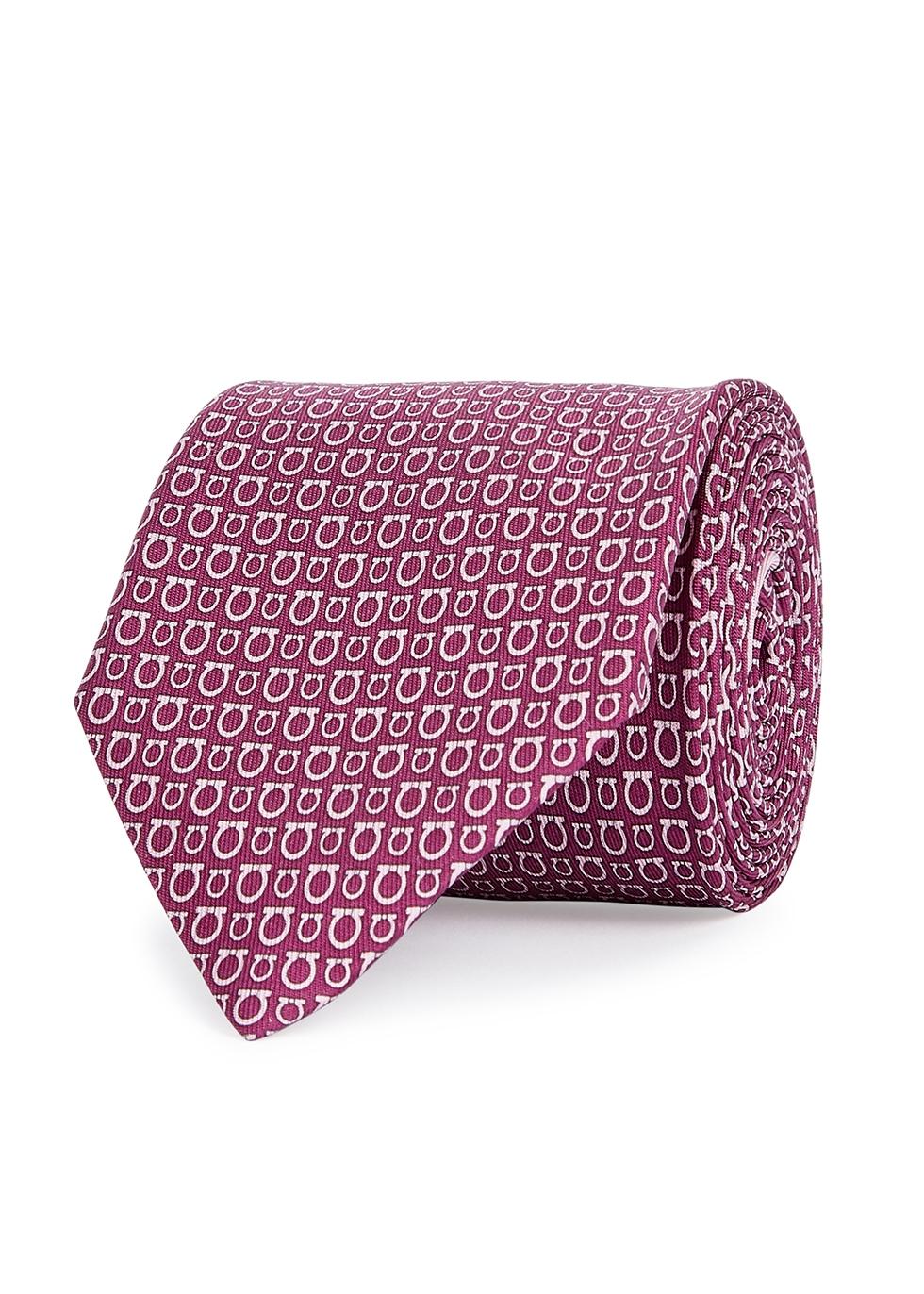 Gancio logo-print silk tie - Salvatore Ferragamo