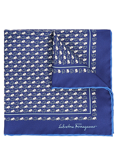 2b426297045f9 Salvatore Ferragamo Navy elephant-print silk pocket square - Harvey ...