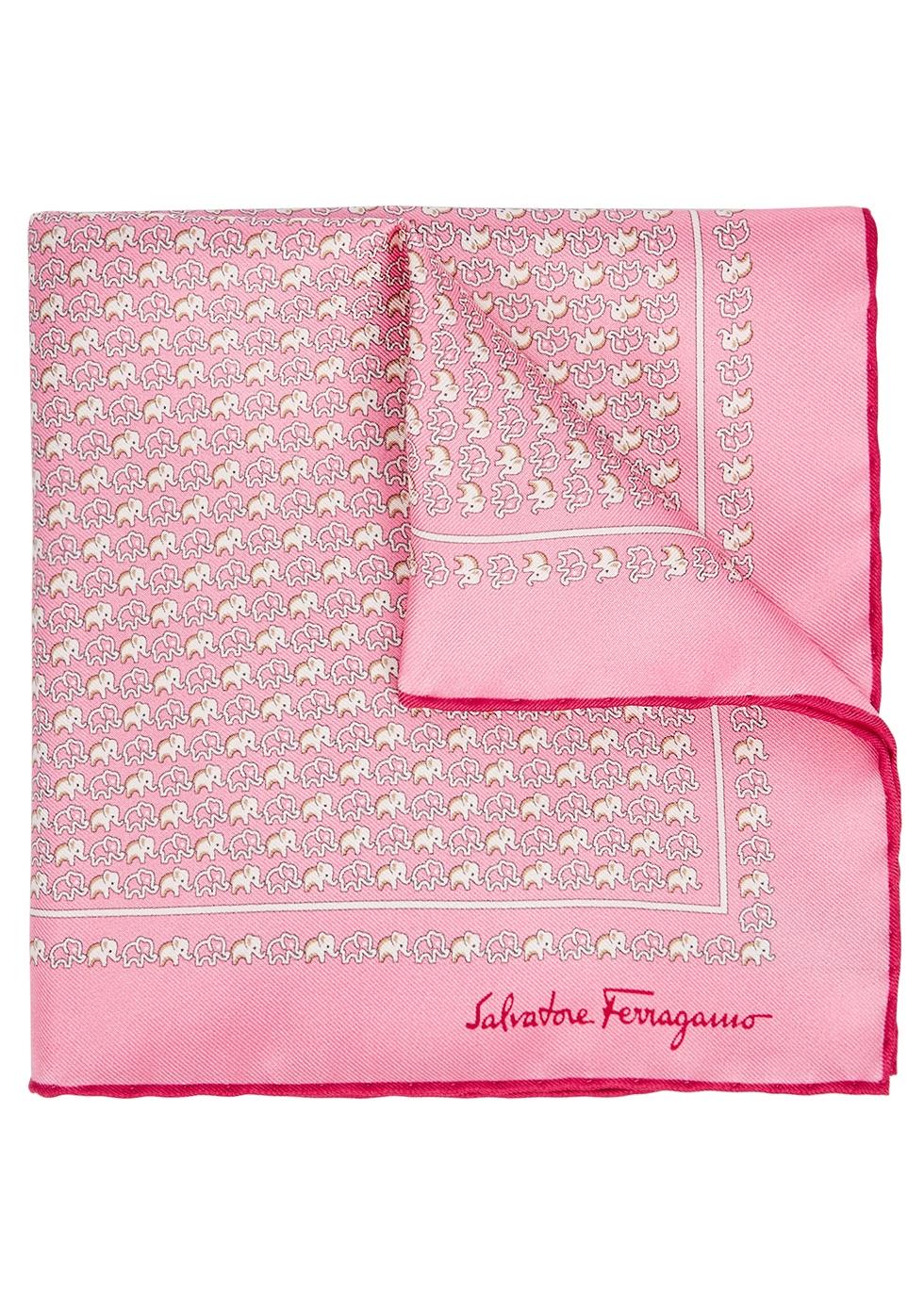 Pink elephant-print silk pocket square - Salvatore Ferragamo