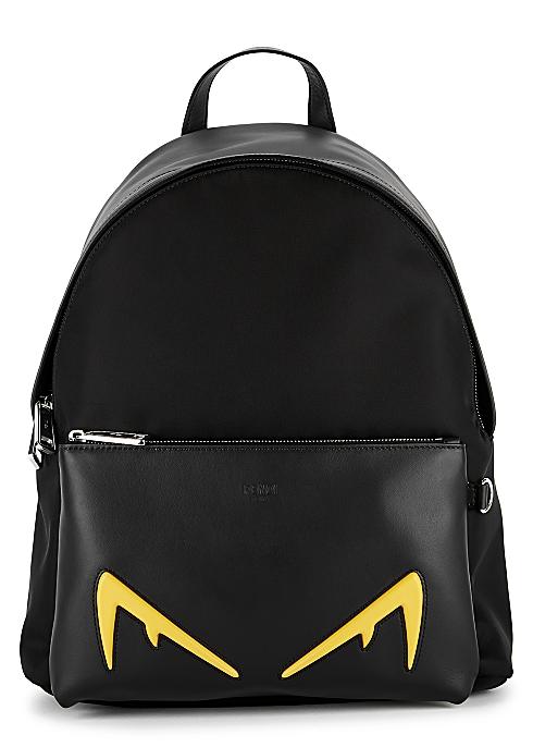 2f0ab582 Fendi Black leather and nylon backpack - Harvey Nichols