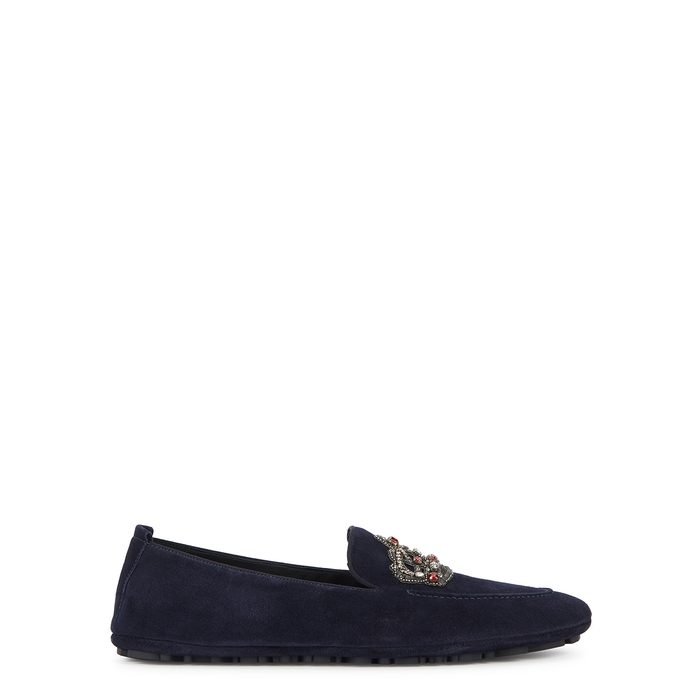 Dolce & Gabbana King Navy Suede Driving Shoes