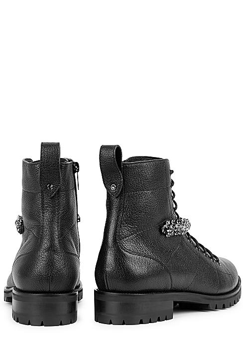 01dcaa993a7 Jimmy Choo Cruz 40 black leather biker boots - Harvey Nichols