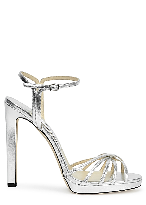b77d7c3f80 Jimmy Choo Lilah 120 silver leather sandals - Harvey Nichols