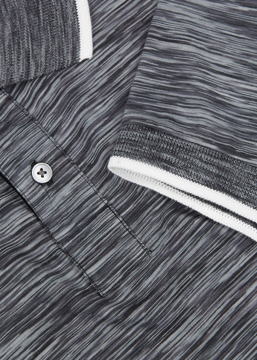 Grey space-dye cotton polo shirt - PS by Paul Smith
