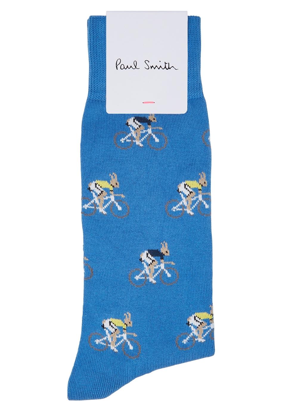 Blue intarsia cotton-blend socks - Paul Smith