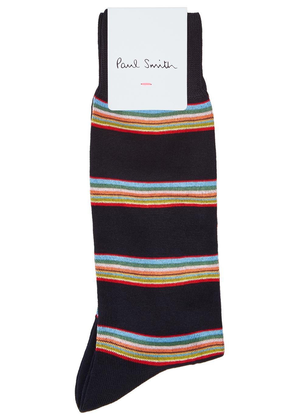 Navy striped cotton-blend socks - Paul Smith