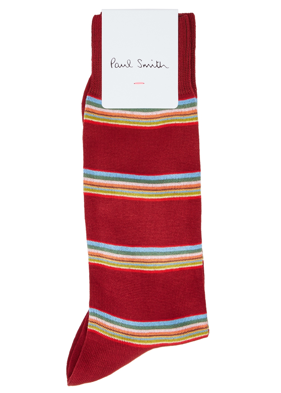 Burgundy striped cotton-blend socks - Paul Smith