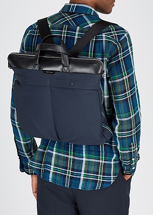Paul Smith Navy leather-trimmed backpack - Harvey Nichols
