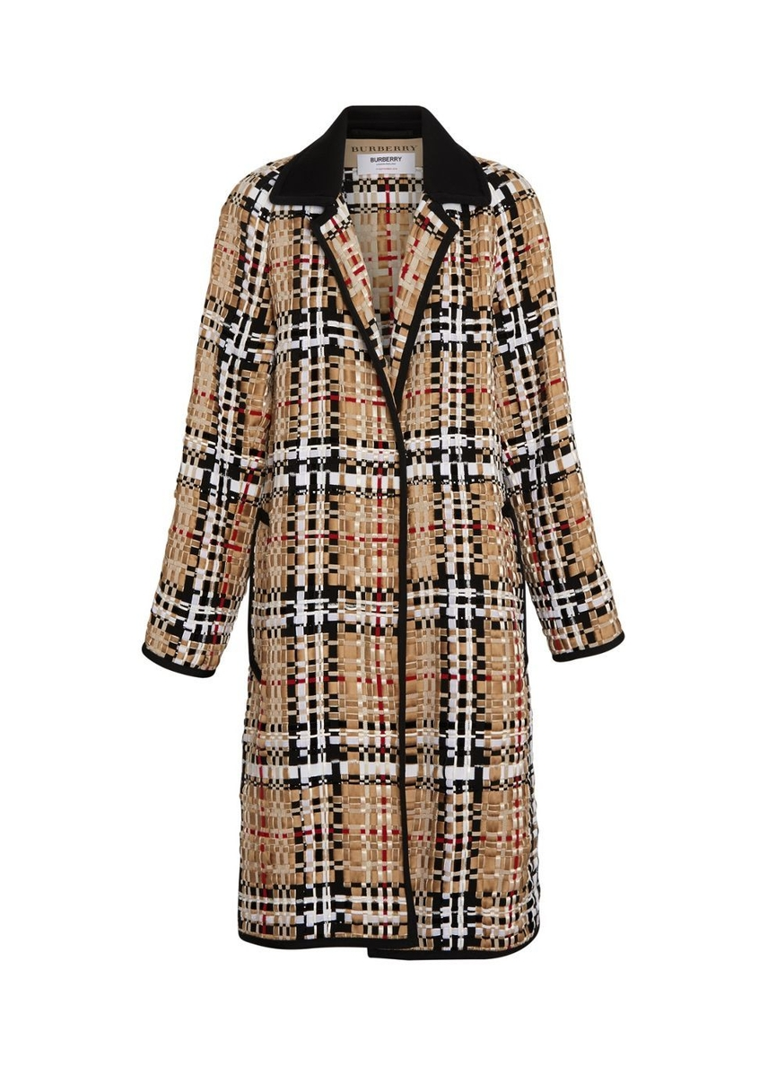 668f8faff9c9 Check basketweave ribbon coat ...
