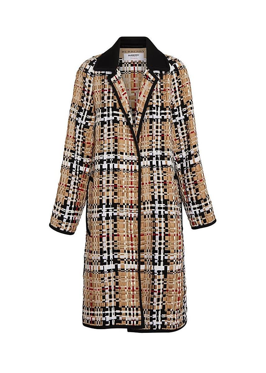 c7d7b43b7 Check basketweave ribbon coat ...