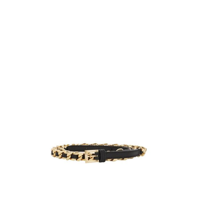 Burberry D-ring Detail Leather And Chain Belt