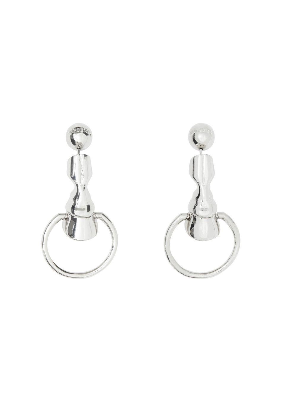 BURBERRY | Burberry Palladium-Plated Hoof Hoop Earrings | Goxip