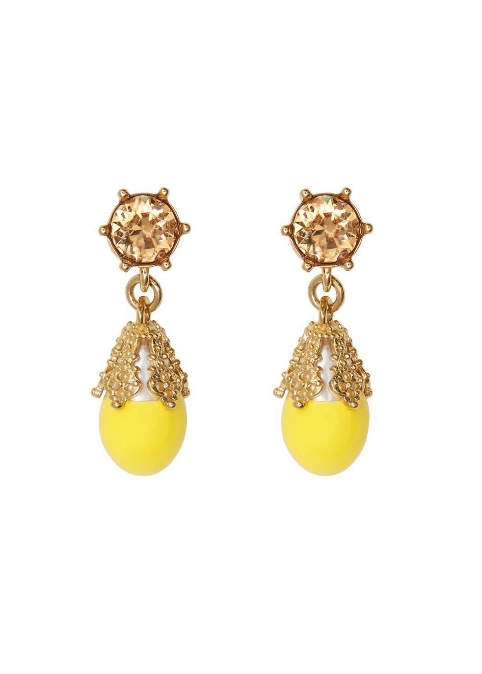 BURBERRY | Burberry Gold-Plated Faux Pearl Charm Earrings | Goxip