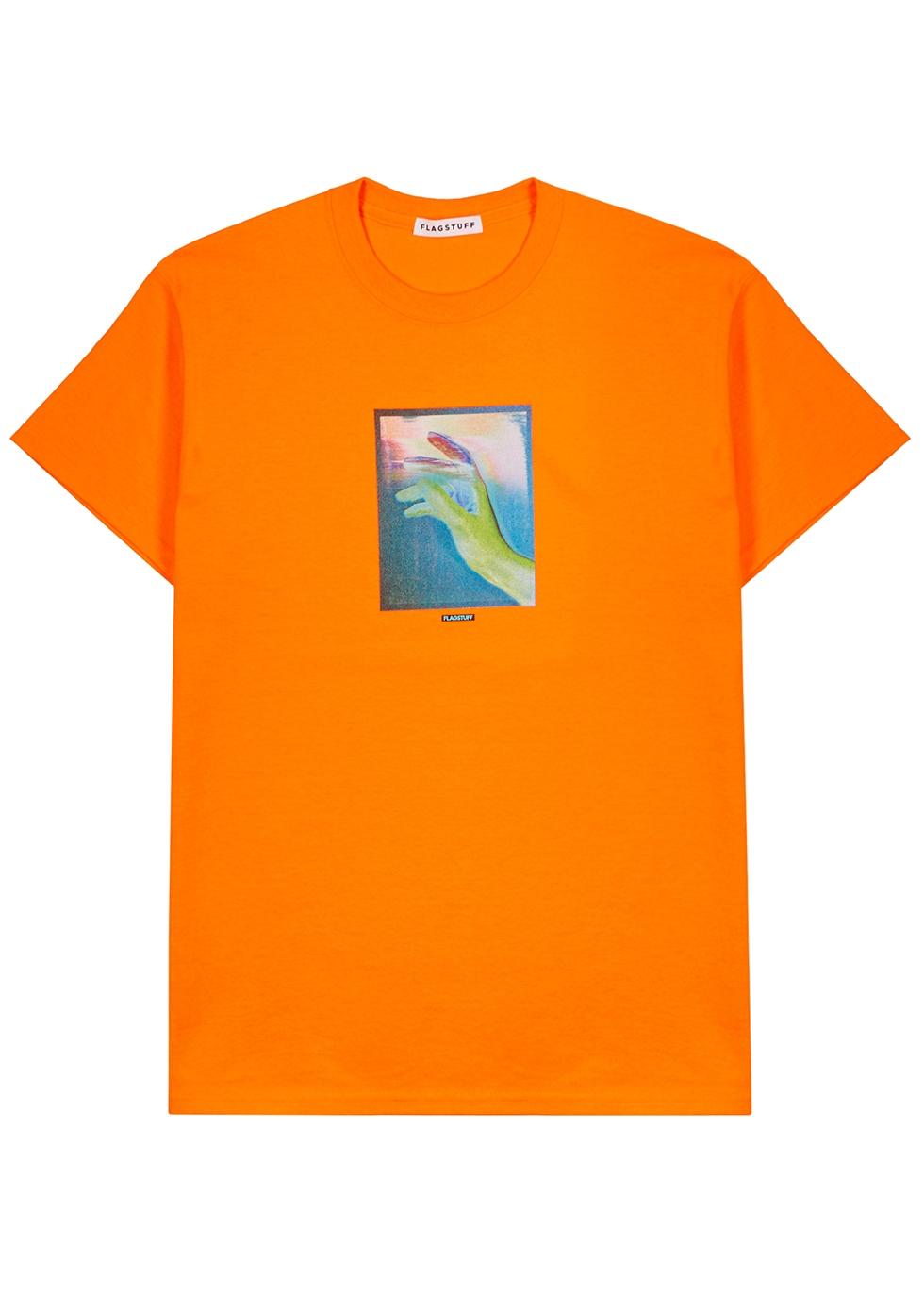Orange cotton-blend T-shirt - Flagstuff