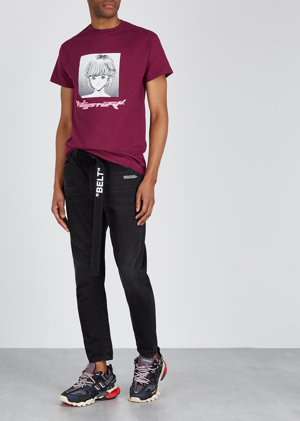 Burgundy printed cotton T-shirt - Flagstuff