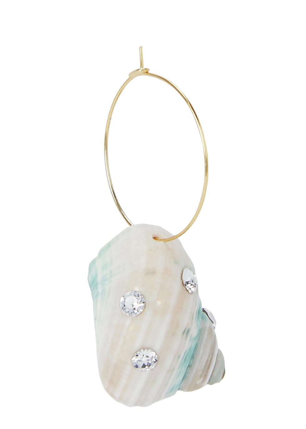Paris Paris shell gold-plated hoop earring - WALD Berlin