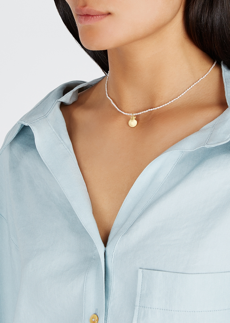 Pearl and 18kt gold-plated necklace - ANNI LU