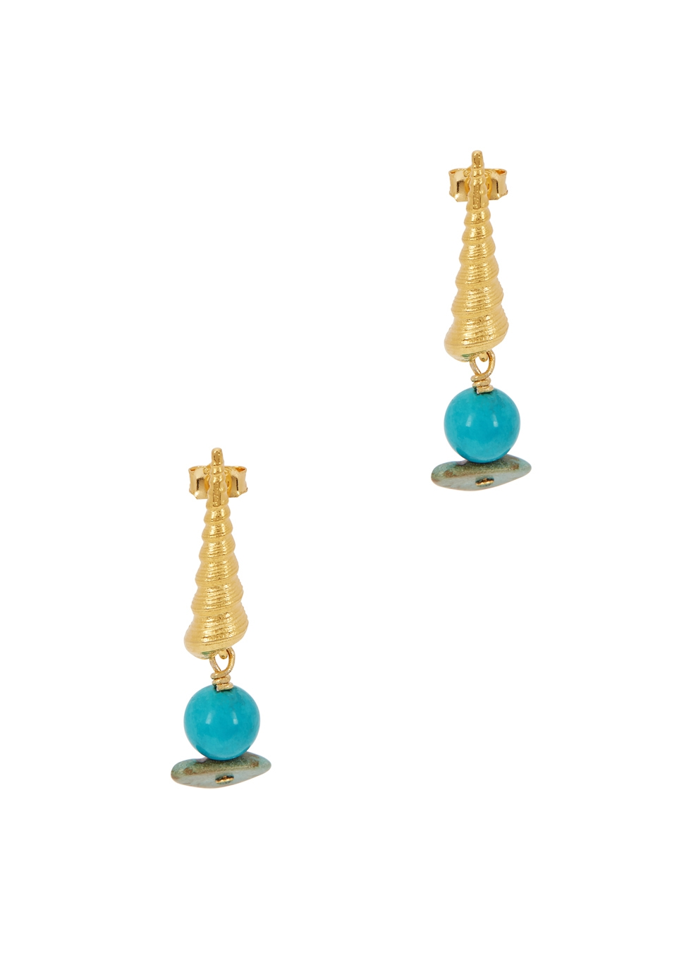 Turret Shell 18kt gold-plated earrings - ANNI LU