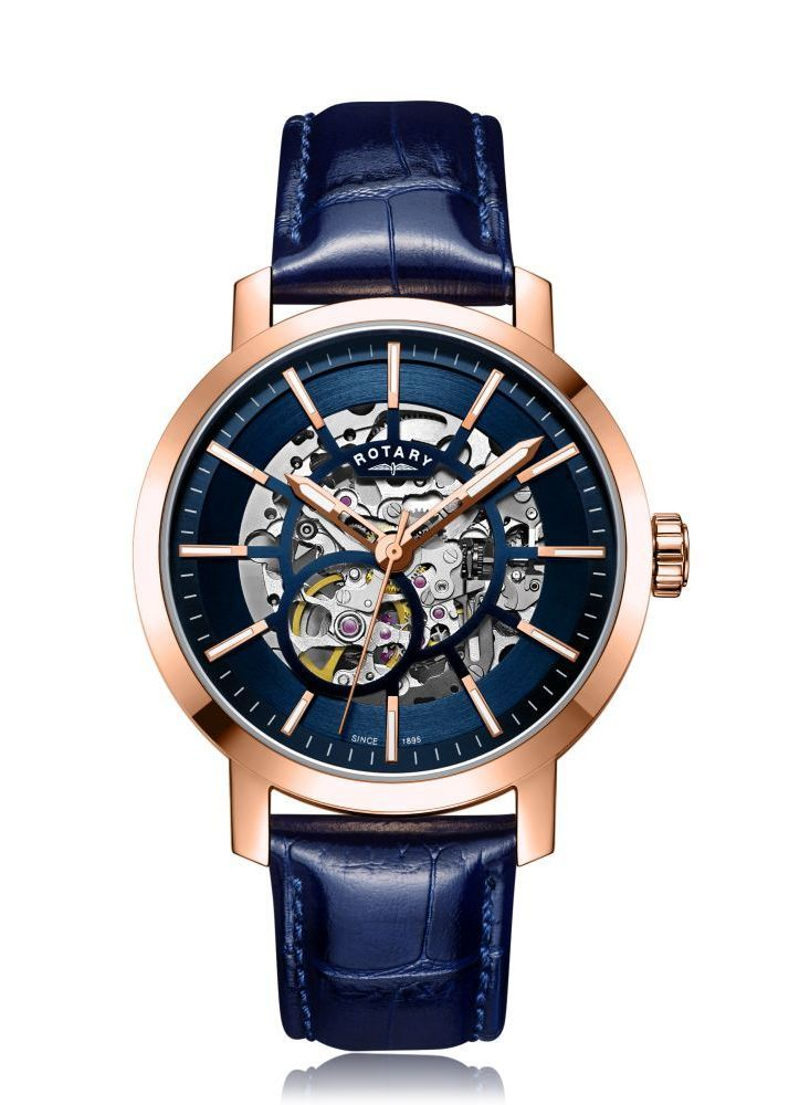c8ac00ddb71a Rotary mens rose gold pvd greenwich skeleton ...