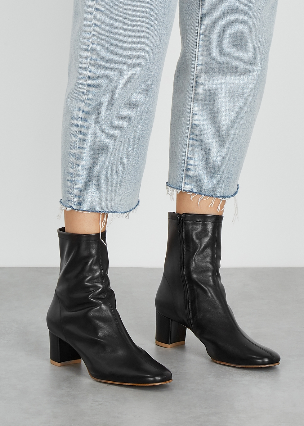 BY FAR Sofia 65 black leather ankle