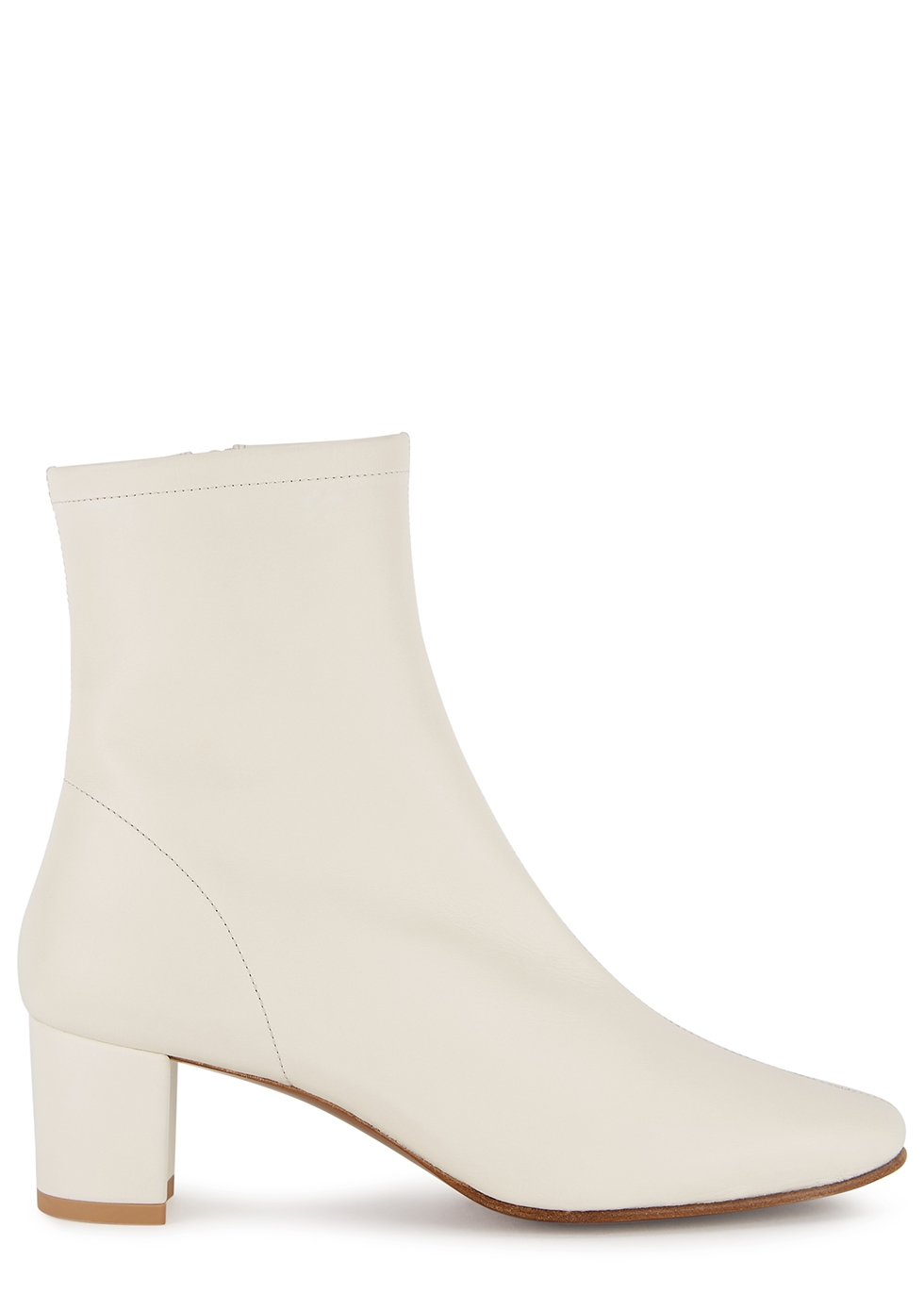BY FAR Sofia 65 off-white leather ankle