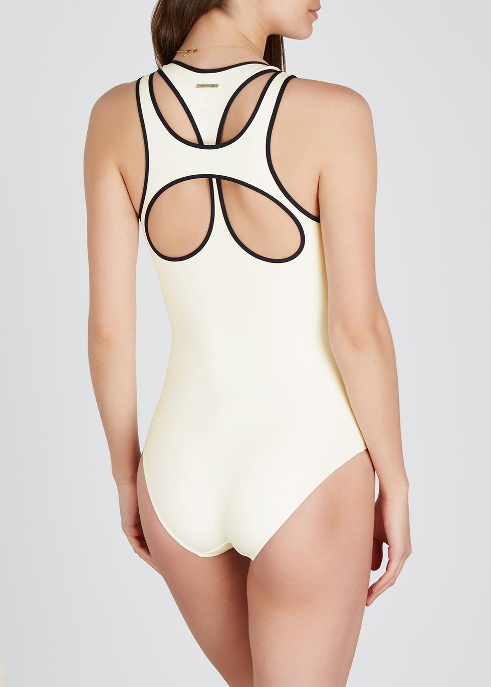 Monochrome racer-back swimsuit - Stella McCartney