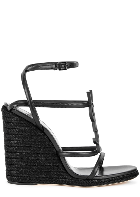 a85ec43b03db Saint Laurent Cassandra 105 black leather sandals - Harvey Nichols