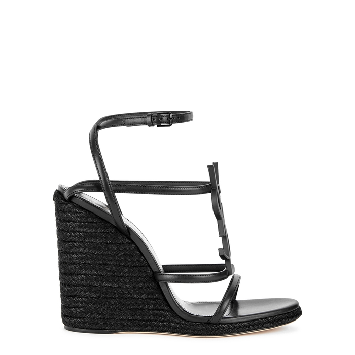 14d06f252301 Saint Laurent Cassandra Wedge Espadrilles With Black Logo In Leather ...