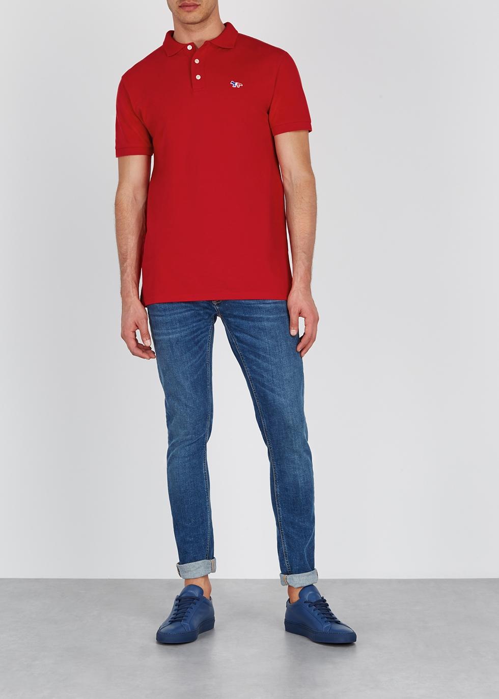 Red cotton polo shirt - Maison Kitsuné