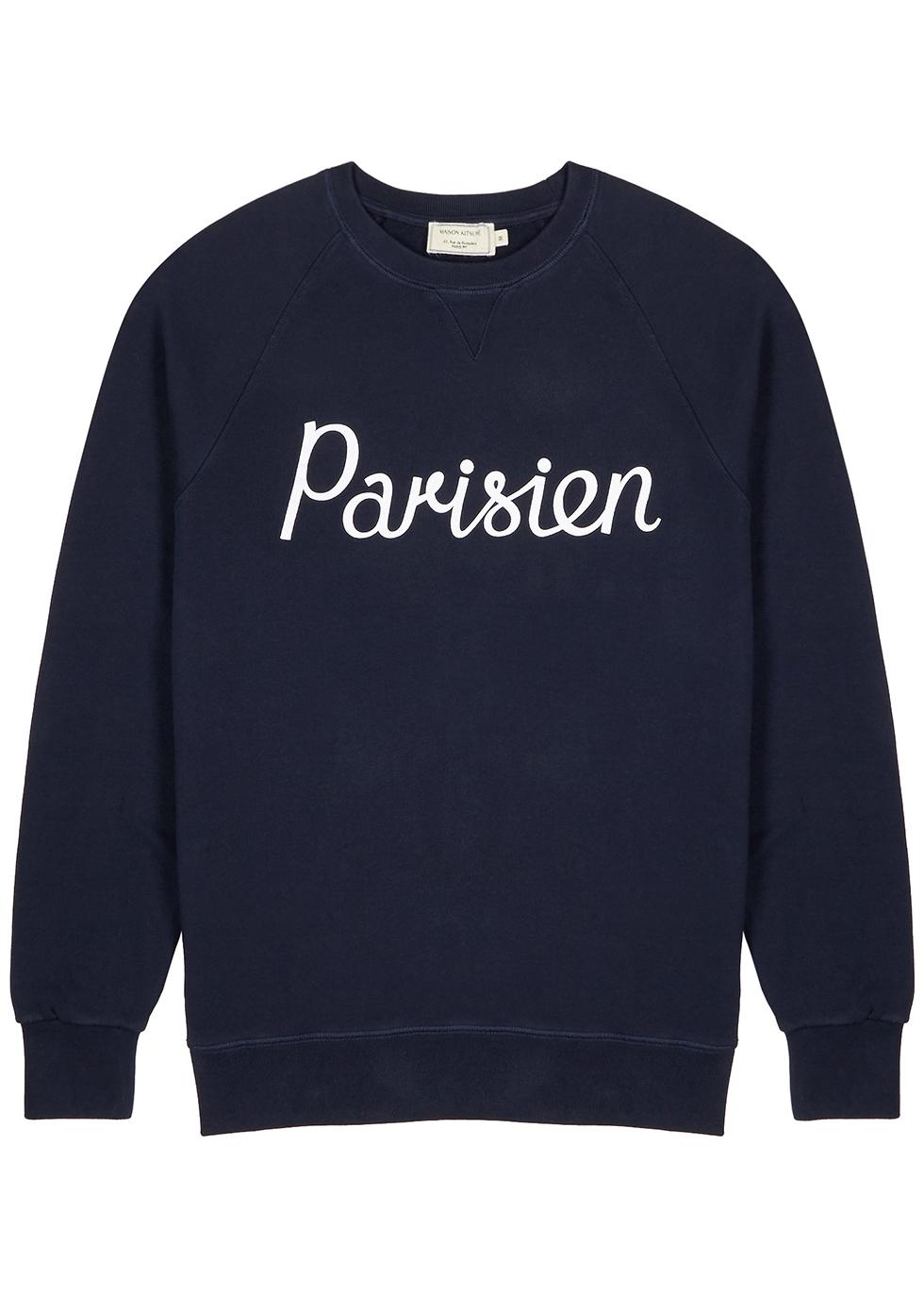 Parisien navy cotton sweatshirt - Maison Kitsuné