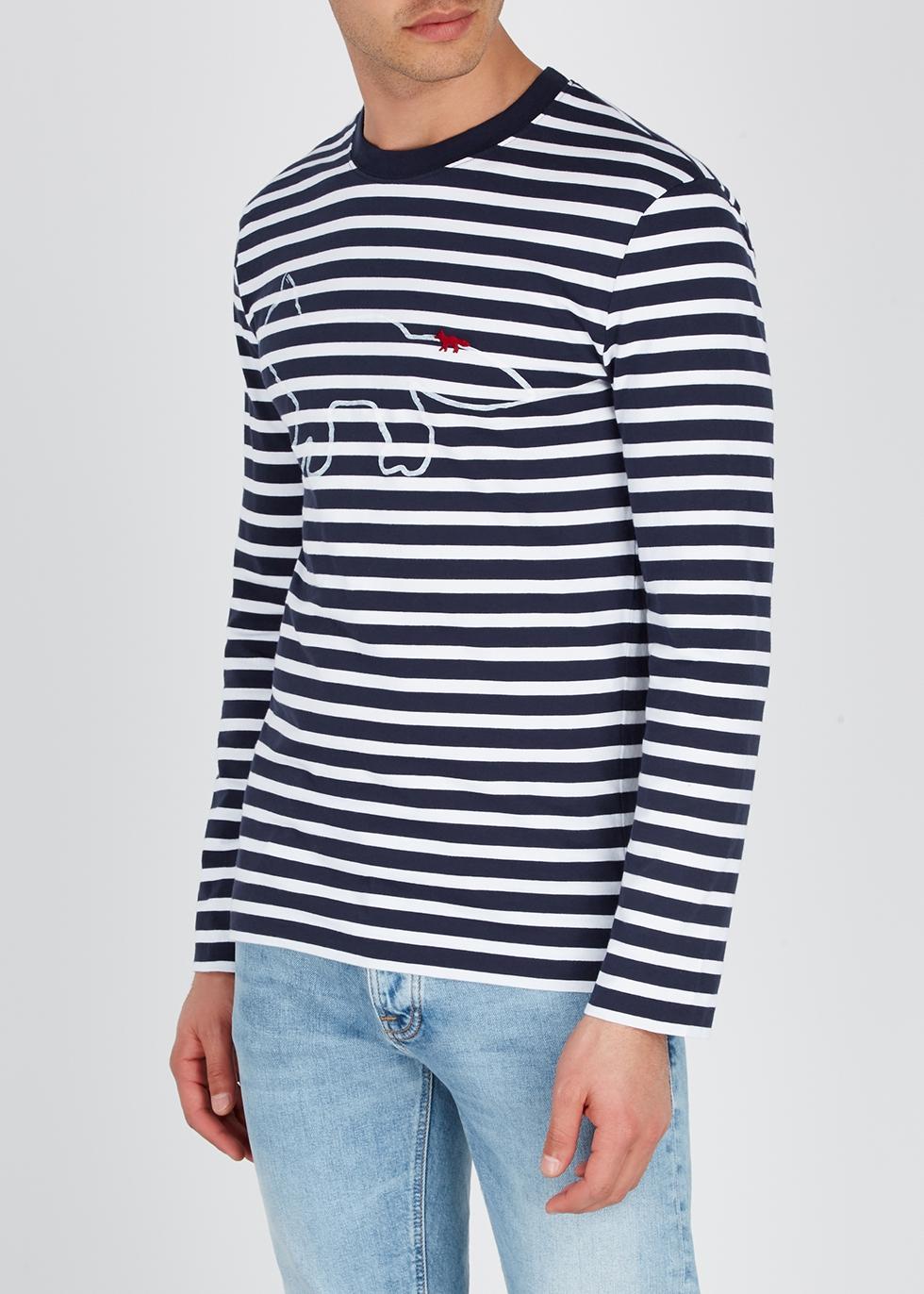 Striped logo-print cotton top - Maison Kitsuné