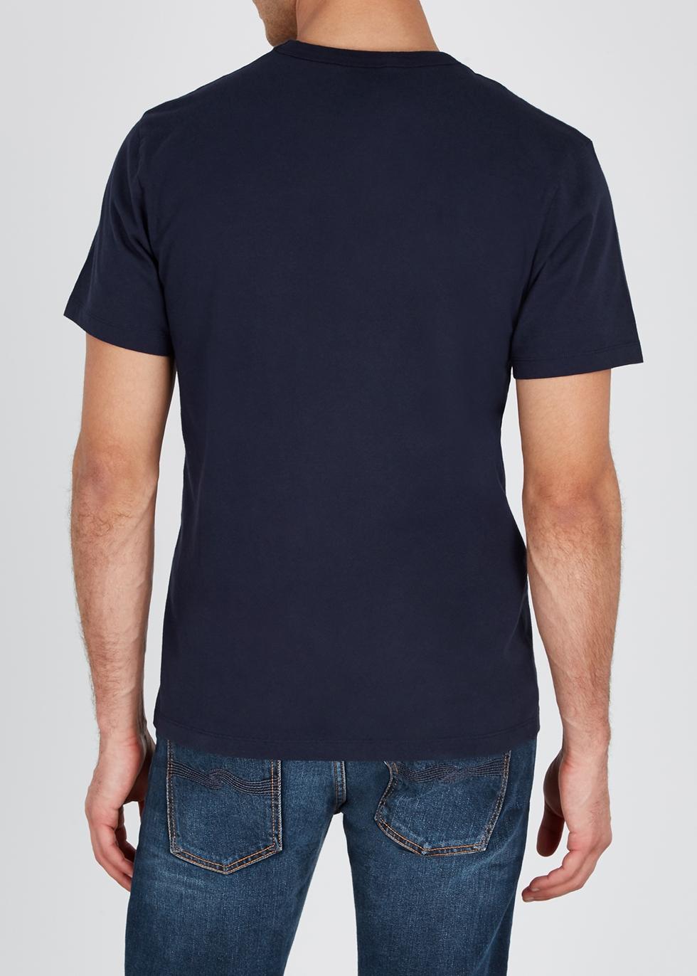 Navy printed cotton T-shirt - Maison Kitsuné