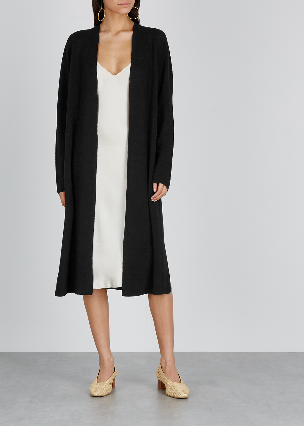 Black linen-blend cardigan - EILEEN FISHER