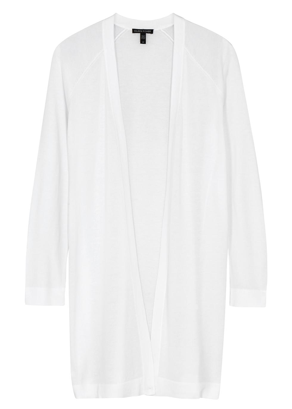 White fine-knit cardigan - EILEEN FISHER