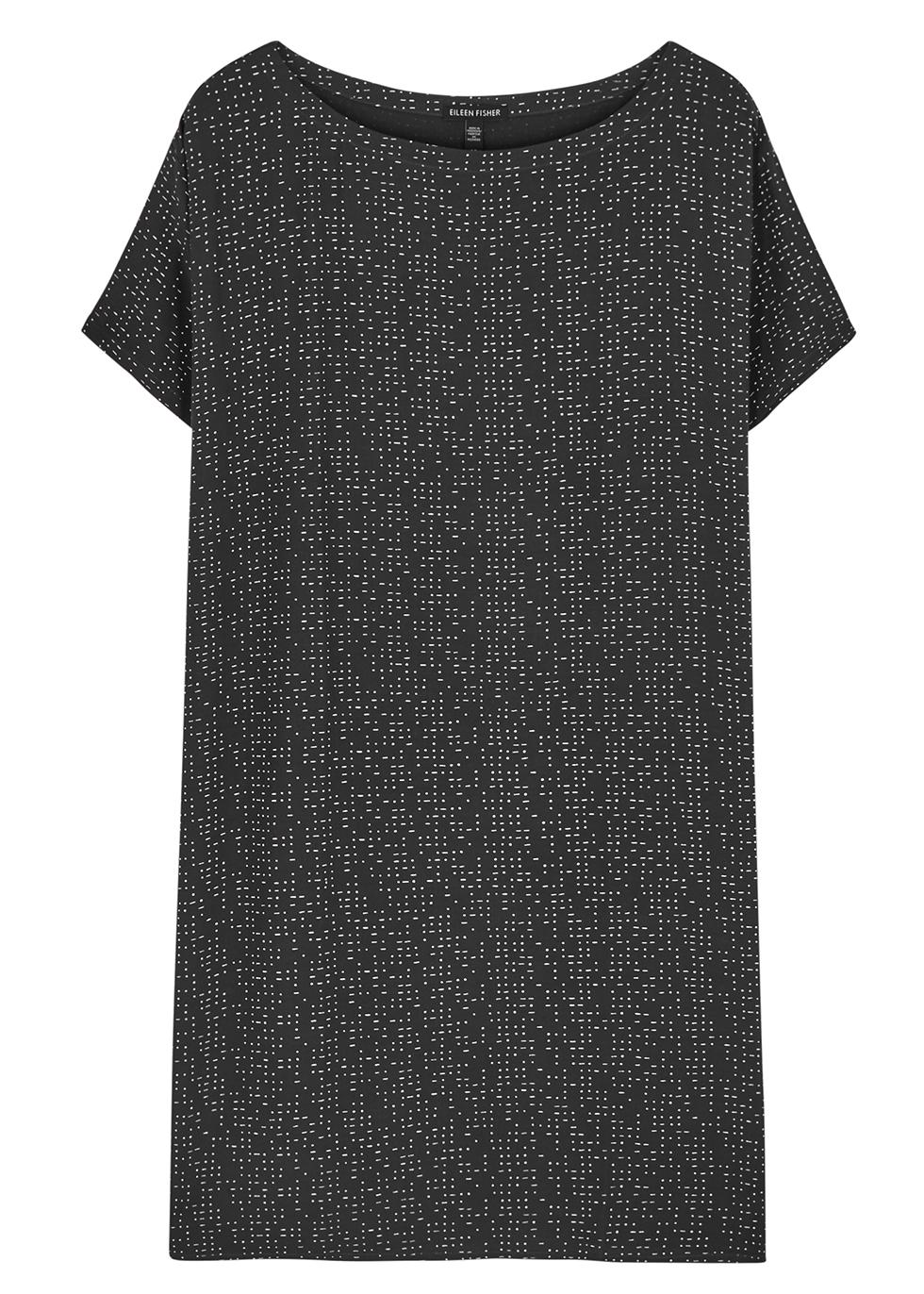 Grey printed crepe de chine dress - EILEEN FISHER