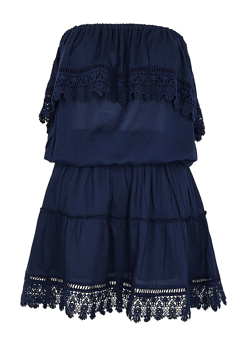 cf00fb5b5f58c Joy navy crochet-trimmed mini dress ...