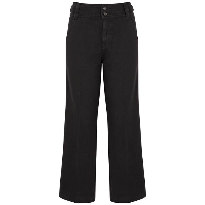Current Elliott The Relaxed Black Cotton-blend Trousers